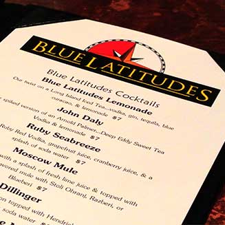 Menu Paper at Blue Latitudes Can Handle a Spill (Or Several)