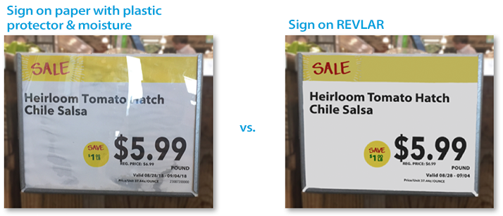 Regular signage vs. REVLAR signage