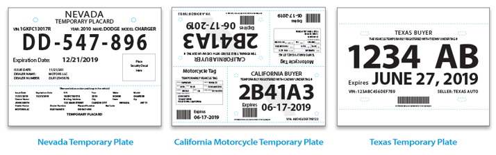 Resource image within printable temporary license plate template